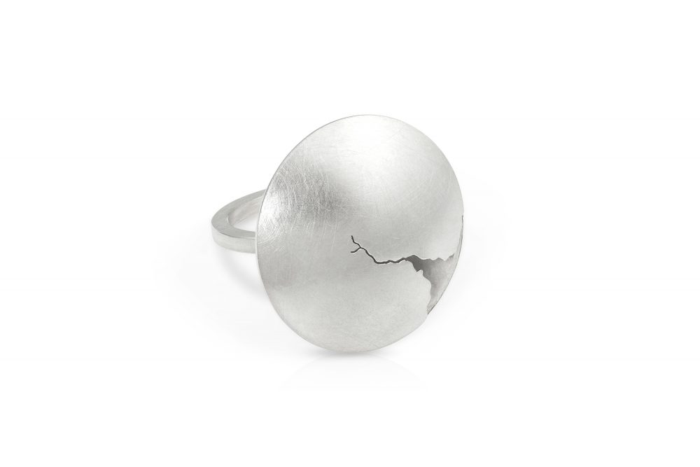large statement ring with crack_hollow form sterling silver ring with crack_ by charmaine vegas of bless the theory