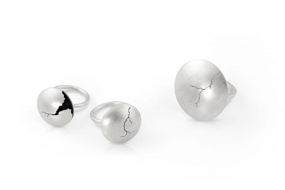 sterling silver hollow form rings with crack_by charmaine vegas of bless the theory