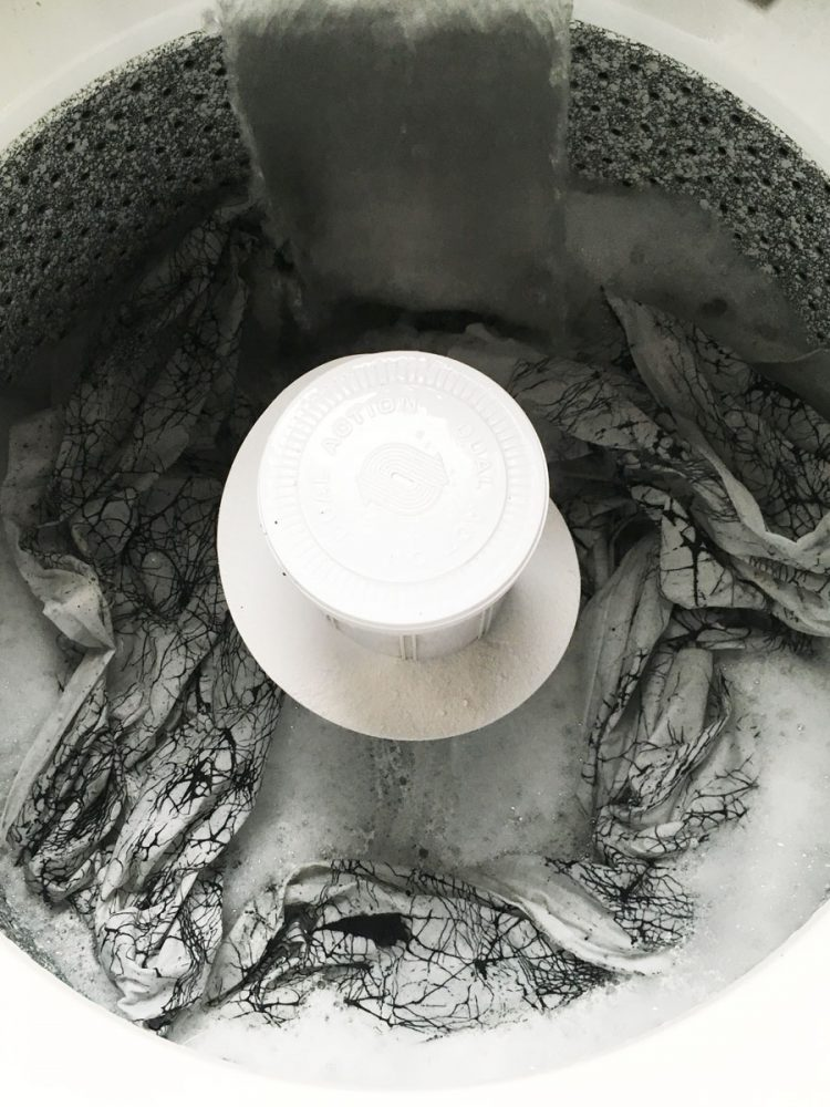 washing fabric after flour resist