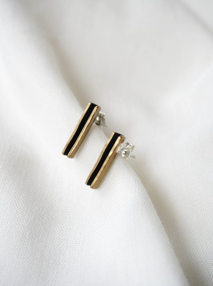 bronze folded stud earrings by bless the theory
