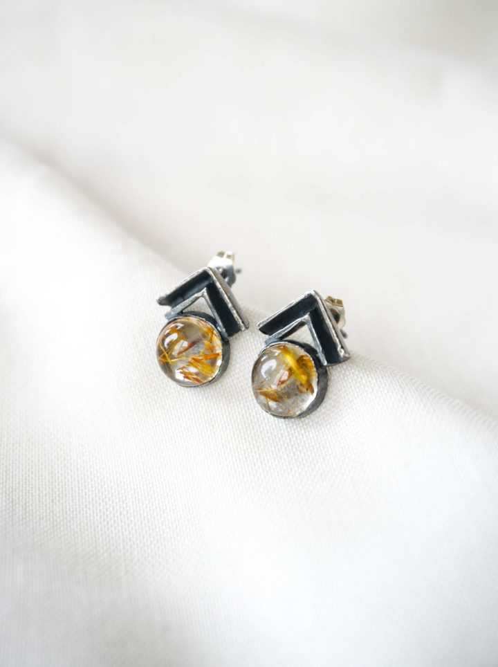 gold rutilated quartz studs