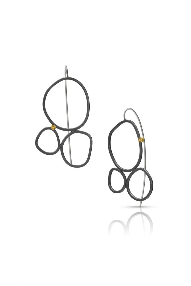 Imperfect Circle Earrings Sterling Silver 14k Gold Citrine by Charmaine Vegas Bless the Theory Modern Jewelry