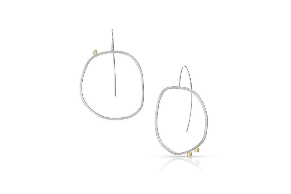 Imperfect Circle Earrings Sterling Silver 14k Gold White Sapphire by Charmaine Vegas Bless the Theory Modern Jewelry
