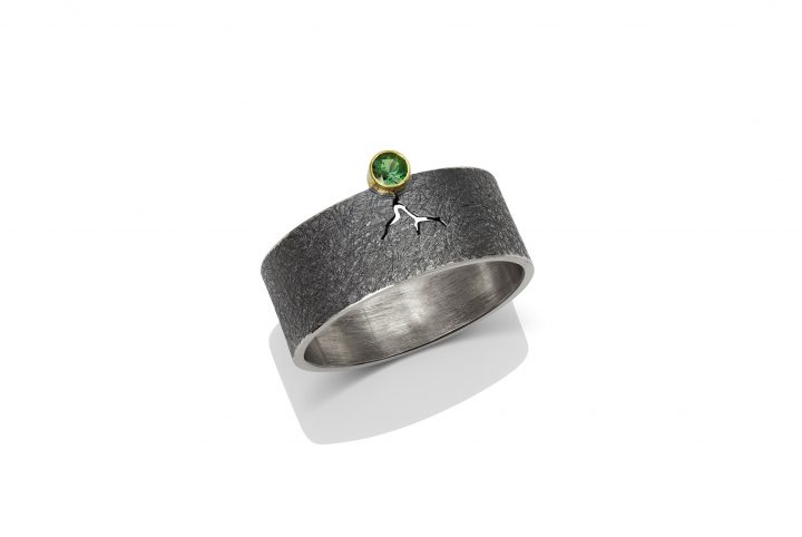 Statement Ring Sterling Silver 14k Gold Green Tourmaline by Charmaine Vegas Bless the Theory Modern Jewelry